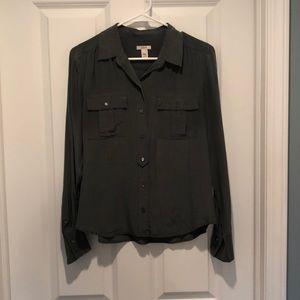 J crew 100% silk gray shirt blouse button up 8